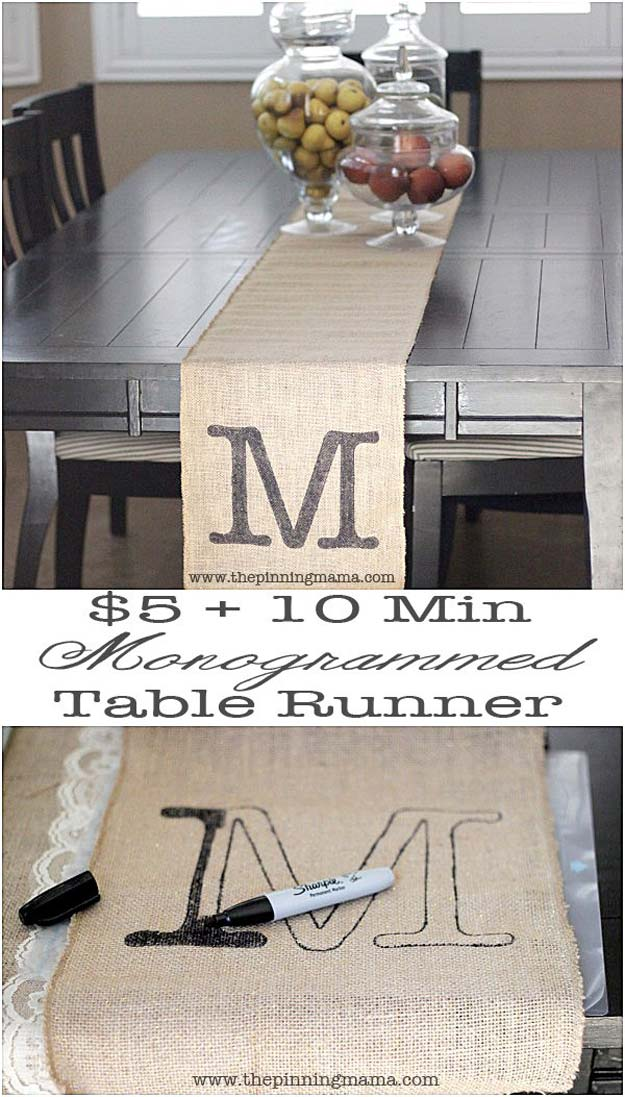DIY Monogram Projects and Crafts Ideas -Easy Monogrammed Table Runner- Letters, Wall Art, Mason Jar Ideas, Printables, Stickers, Embroidery Tutorials, Home and Room Decor, Pillows, Shirts and Fashion Tutorials - Fun and Cool Ideas for Teens, Tweens and Adults Make Great DIY Gifts