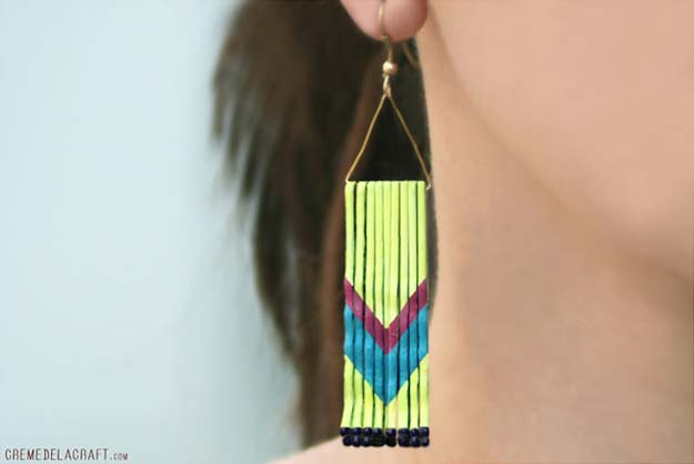 DIY Earrings and Homemade Jewelry Projects - Chevrin Earrings From Bobby Pins - Easy Studs, Ideas with Beads, Dangle Earring Tutorials, Wire, Feather, Simple Boho, Handmade Earring Cuff, Hoops and Cute Ideas for Teens and Adults #diygifts #diyteens #teengifts #teencrafts #diyearrings