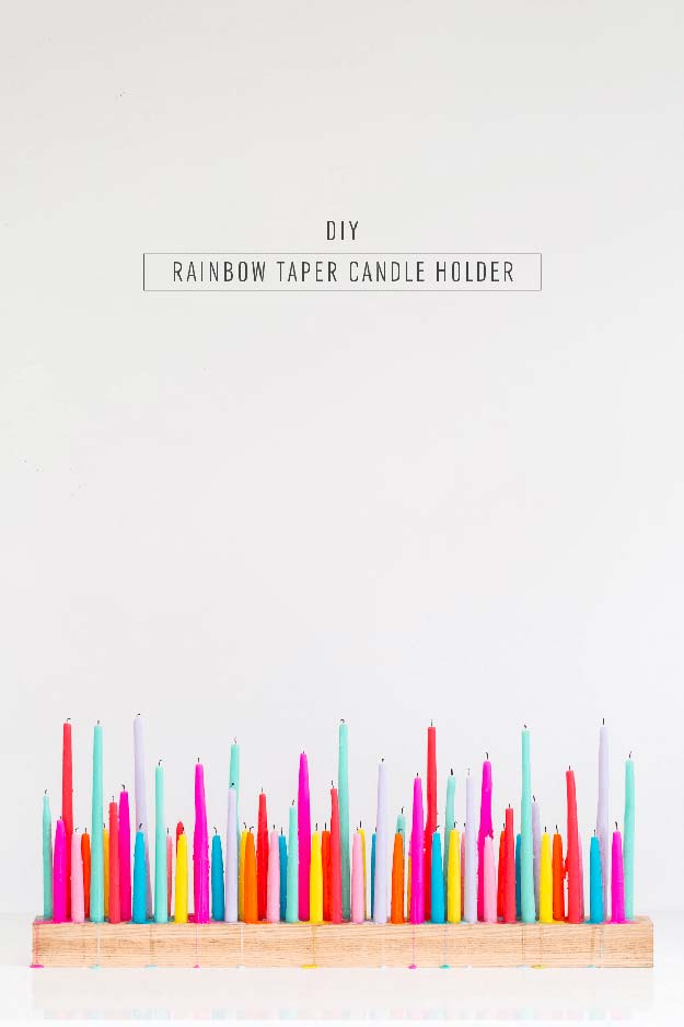 Best DIY Rainbow Crafts Ideas - Rainbow Taper Candle Holder - Fun DIY Projects With Rainbows Make Cool Room and Wall Decor, Party and Gift Ideas, Clothes, Jewelry and Hair Accessories - Awesome Ideas and Step by Step Tutorials for Teens and Adults, Girls and Tweens http://diyprojectsforteens.com/diy-projects-with-rainbows