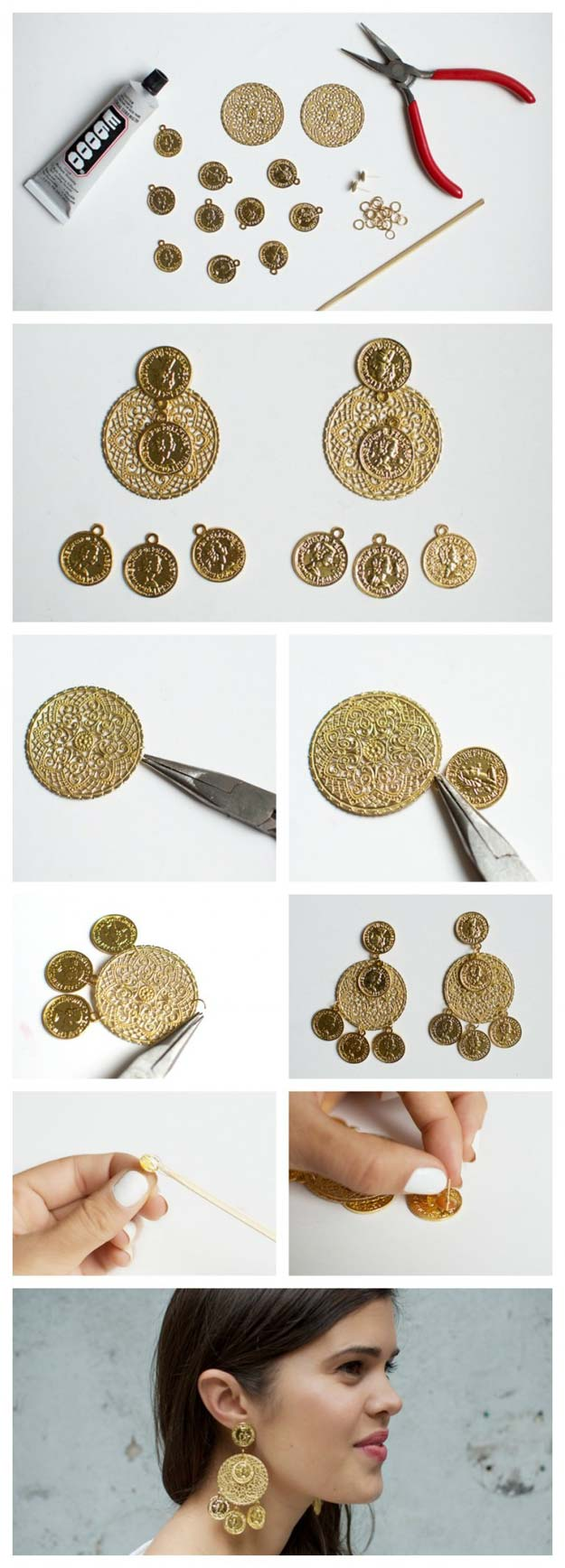 DIY Earrings and Homemade Jewelry Projects - Dolce & Gabbana Inspired Coin Earrings - Easy Studs, Ideas with Beads, Dangle Earring Tutorials, Wire, Feather, Simple Boho, Handmade Earring Cuff, Hoops and Cute Ideas for Teens and Adults http://diyprojectsforteens.com/diy-earrings
