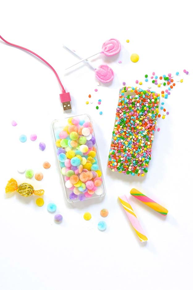 DIY iPhone Case Makeovers - Candy iPhone Case - Easy DIY Projects and Handmade Crafts Tutorial Ideas You Can Make To Decorate Your Phone With Glitter, Nail Polish, Sharpie, Paint, Bling, Printables and Sewing Patterns - Fun DIY Ideas for Women, Teens, Tweens and Kids