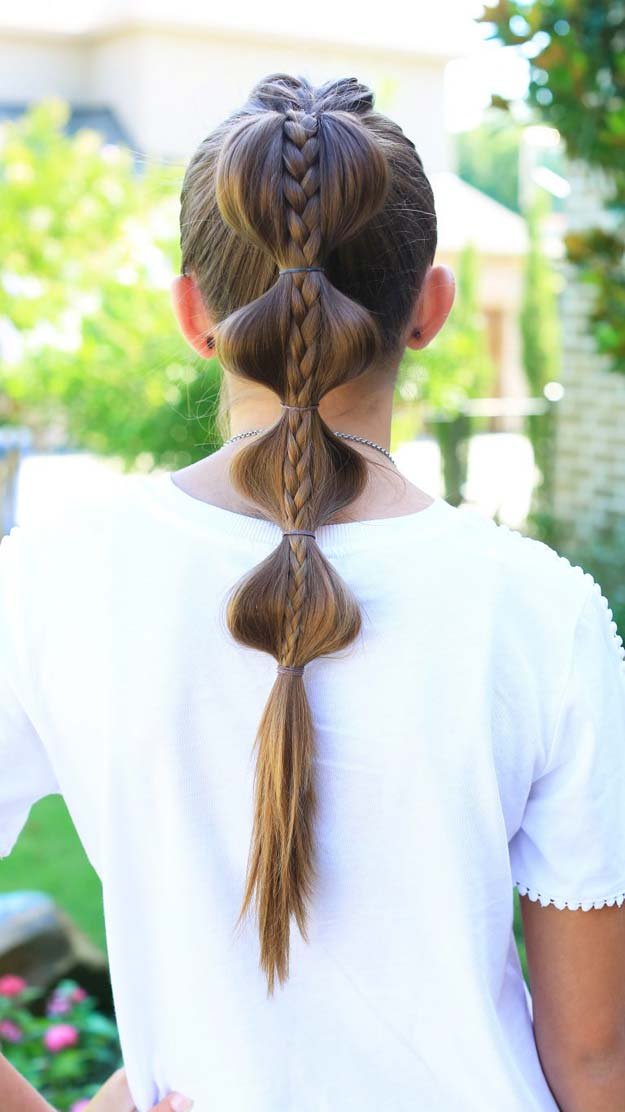 Cool and Easy DIY Hairstyles - Stacked Bubble Braid - Quick and Easy Ideas for Back to School Styles for Medium, Short and Long Hair - Fun Tips and Best Step by Step Tutorials for Teens, Prom, Weddings, Special Occasions and Work. Up dos, Braids, Top Knots and Buns, Super Summer Looks #hairstyles #hair #teens #easyhairstyles #diy #beauty