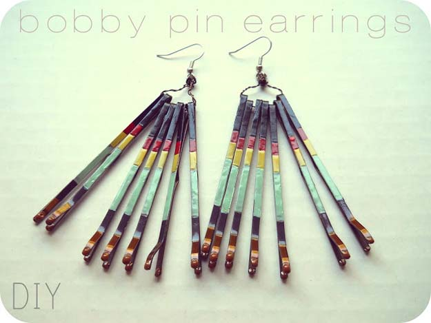 DIY Earrings and Homemade Jewelry Projects - Bobby Pins Earrings - Easy Studs, Ideas with Beads, Dangle Earring Tutorials, Wire, Feather, Simple Boho, Handmade Earring Cuff, Hoops and Cute Ideas for Teens and Adults http://diyprojectsforteens.com/diy-earrings