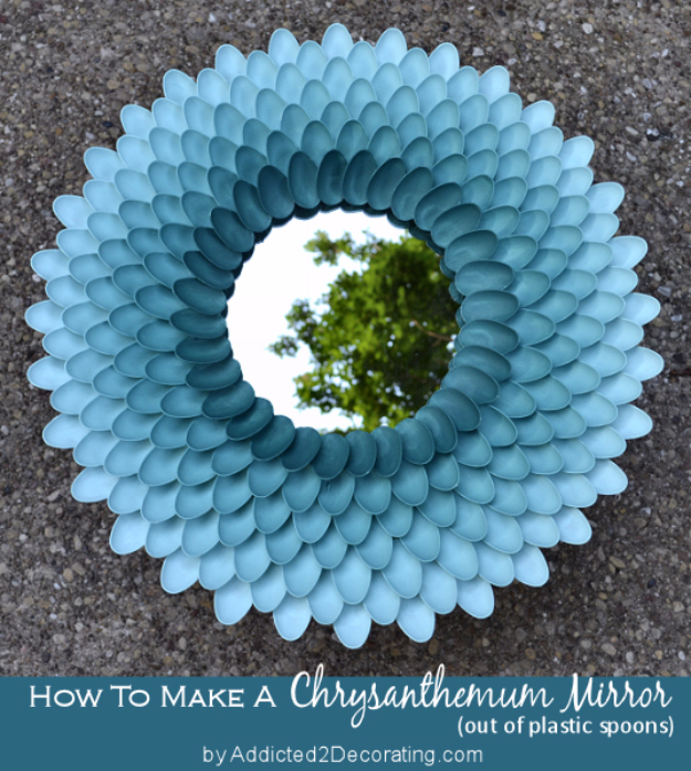Cool Turquoise Room Decor Ideas - Decorative Chrysanthemum Mirror - Fun Aqua Decorating Looks and Color for Teen Bedroom, Bathroom, Accent Walls and Home Decor - Fun Crafts and Wall Art for Your Room