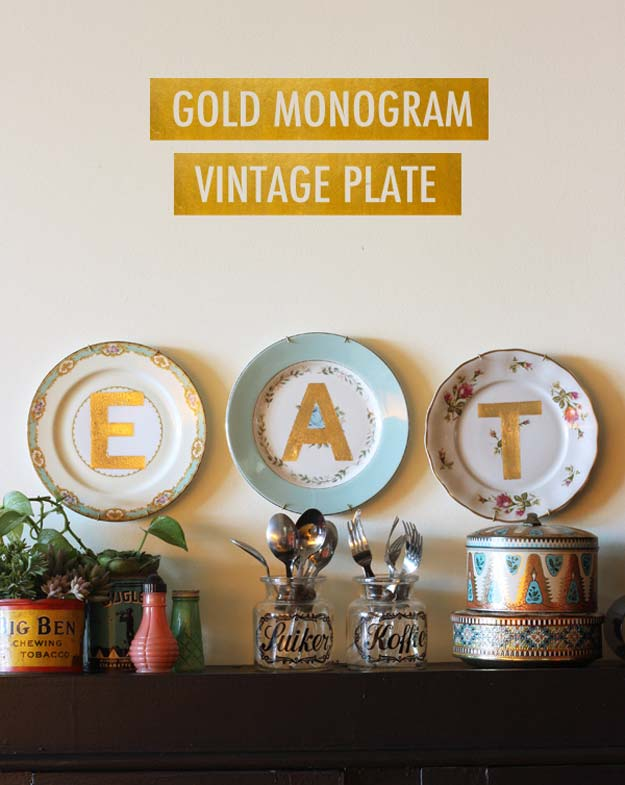 DIY Monogram Projects and Crafts Ideas -Gold Monogram Vintage Plate- Letters, Wall Art, Mason Jar Ideas, Printables, Stickers, Embroidery Tutorials, Home and Room Decor, Pillows, Shirts and Fashion Tutorials - Fun and Cool Ideas for Teens, Tweens and Adults Make Great DIY Gifts