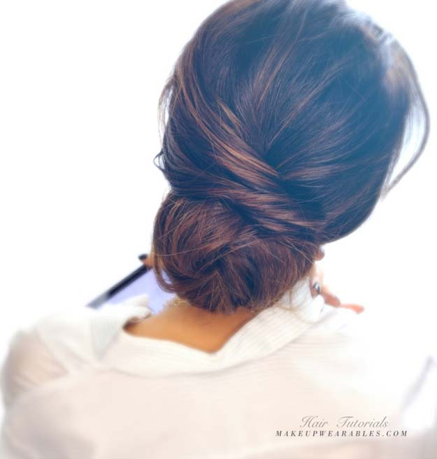 Cool and Easy DIY Hairstyles - Elegant Bun Hairstyle - Quick and Easy Ideas for Back to School Styles for Medium, Short and Long Hair - Fun Tips and Best Step by Step Tutorials for Teens, Prom, Weddings, Special Occasions and Work. Up dos, Braids, Top Knots and Buns, Super Summer Looks #hairstyles #hair #teens #easyhairstyles #diy #beauty