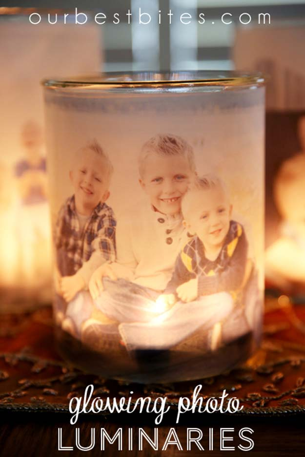Cool DIY Photo Projects and Craft Ideas for Photos - Glowing Photo Luminaries - Easy Ideas for Wall Art, Collage and DIY Gifts for Friends. Wood, Cardboard, Canvas, Instagram Art and Frames. Creative Birthday Ideas and Home Decor for Adults, Teens and Tweens