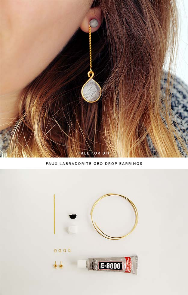 DIY Earrings and Homemade Jewelry Projects - Faux Labradorite Geo Drop Earrings - Easy Studs, Ideas with Beads, Dangle Earring Tutorials, Wire, Feather, Simple Boho, Handmade Earring Cuff, Hoops and Cute Ideas for Teens and Adults #diygifts #diyteens #teengifts #teencrafts #diyearrings