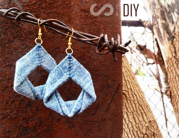 DIY Earrings and Homemade Jewelry Projects - Upcycled Denim Earrings - Easy Studs, Ideas with Beads, Dangle Earring Tutorials, Wire, Feather, Simple Boho, Handmade Earring Cuff, Hoops and Cute Ideas for Teens and Adults #diygifts #diyteens #teengifts #teencrafts #diyearrings