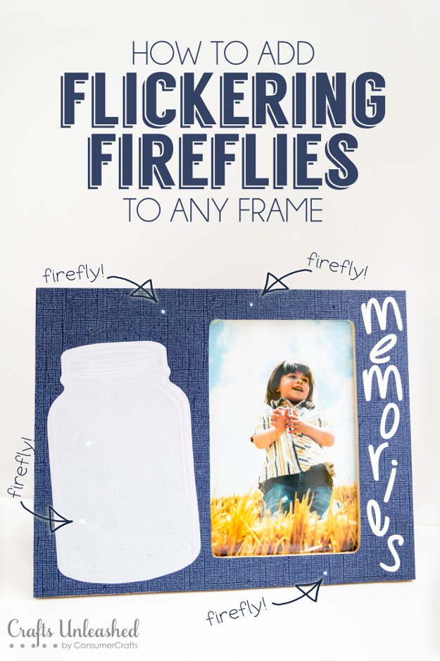 Best DIY Picture Frames and Photo Frame Ideas - DIY Flickering Firefly Picture Frame - How To Make Cool Handmade Projects from Wood, Canvas, Instagram Photos. Creative Birthday Gifts, Fun Crafts for Friends and Wall Art Tutorials #diyideas #diygifts #teencrafts