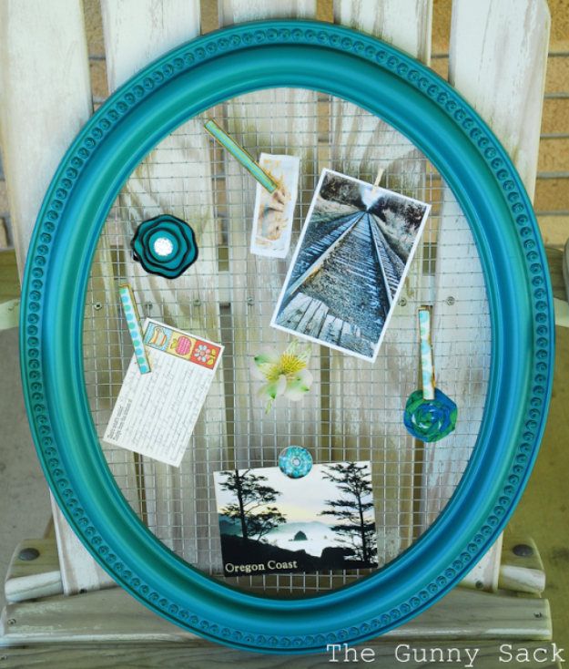 Cool Turquoise Room Decor Ideas - Framed Wire Memo Board - Fun Aqua Decorating Looks and Color for Teen Bedroom, Bathroom, Accent Walls and Home Decor - Fun Crafts and Wall Art for Your Room