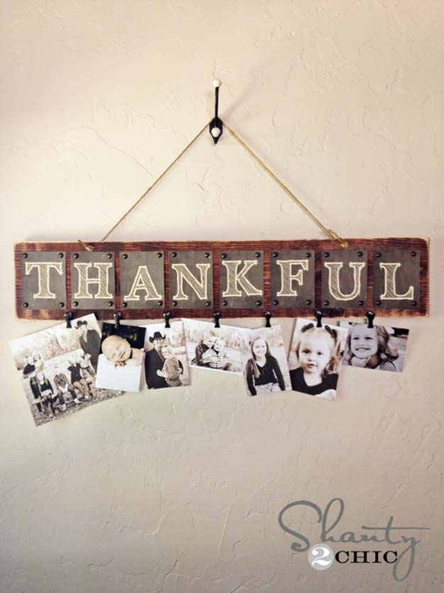 Cool DIY Photo Projects and Craft Ideas for Photos - Thankful Photo Board - Easy Ideas for Wall Art, Collage and DIY Gifts for Friends. Wood, Cardboard, Canvas, Instagram Art and Frames. Creative Birthday Ideas and Home Decor for Adults, Teens and Tweens