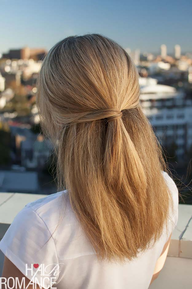 Cool and Easy DIY Hairstyles - Half Hairstyle - Quick and Easy Ideas for Back to School Styles for Medium, Short and Long Hair - Fun Tips and Best Step by Step Tutorials for Teens, Prom, Weddings, Special Occasions and Work. Up dos, Braids, Top Knots and Buns, Super Summer Looks #hairstyles #hair #teens #easyhairstyles #diy #beauty
