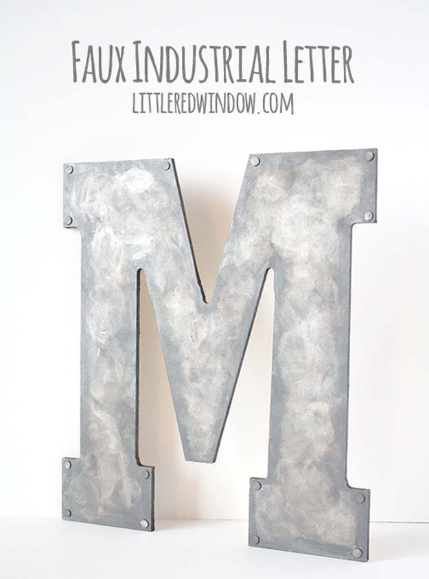 DIY Monogram Projects and Crafts Ideas -Faux Metal Industrial Monogram- Letters, Wall Art, Mason Jar Ideas, Printables, Stickers, Embroidery Tutorials, Home and Room Decor, Pillows, Shirts and Fashion Tutorials - Fun and Cool Ideas for Teens, Tweens and Adults Make Great DIY Gifts http://diyprojectsforteens.com/diy-projects-with-monograms