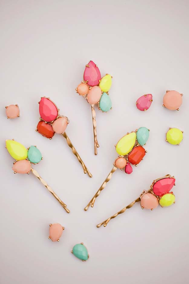 38 Creative DIY Hair Accessories - Gemstone Bobby Pins - Create Pretty Hairstyles for Women, Teens and Girls with These Easy Tutorials - Vintage and Boho Looks for Prom and Wedding - Step by Step Instructions for Cool Headbands, Barettes, Pony Tail Holders, Hair Clips, Bobby Pins and Bows