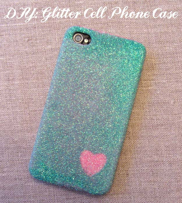 DIY iPhone Case Makeovers - Glitter iPhone Case - Easy DIY Projects and Handmade Crafts Tutorial Ideas You Can Make To Decorate Your Phone With Glitter, Nail Polish, Sharpie, Paint, Bling, Printables and Sewing Patterns - Fun DIY Ideas for Women, Teens, Tweens and Kids