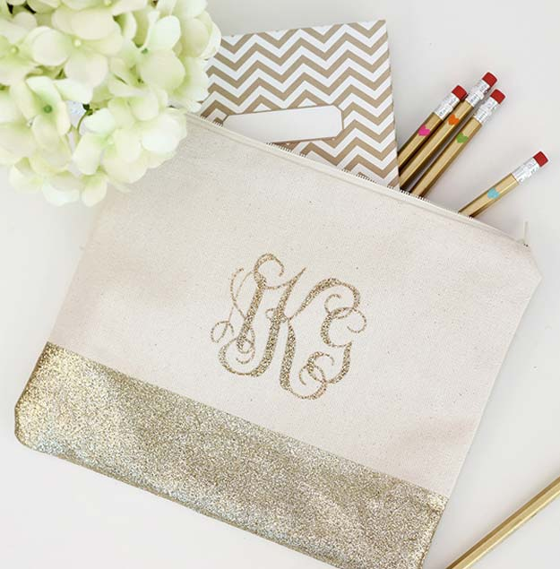 DIY Monogram Projects and Crafts Ideas -Monogram Pencil Bag- Letters, Wall Art, Mason Jar Ideas, Printables, Stickers, Embroidery Tutorials, Home and Room Decor, Pillows, Shirts and Fashion Tutorials - Fun and Cool Ideas for Teens, Tweens and Adults Make Great DIY Gifts