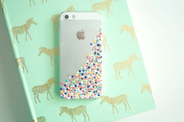 DIY iPhone Case Makeovers - Confetti Phone Cases - Easy DIY Projects and Handmade Crafts Tutorial Ideas You Can Make To Decorate Your Phone With Glitter, Nail Polish, Sharpie, Paint, Bling, Printables and Sewing Patterns - Fun DIY Ideas for Women, Teens, Tweens and Kids