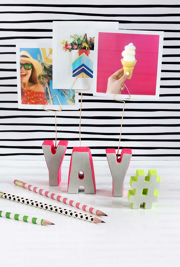 Best DIY Picture Frames and Photo Frame Ideas - Cement Letter Photo Holder - How To Make Cool Handmade Projects from Wood, Canvas, Instagram Photos. Creative Birthday Gifts, Fun Crafts for Friends and Wall Art Tutorials http://diyprojectsforteens.com/diy-picture-frames