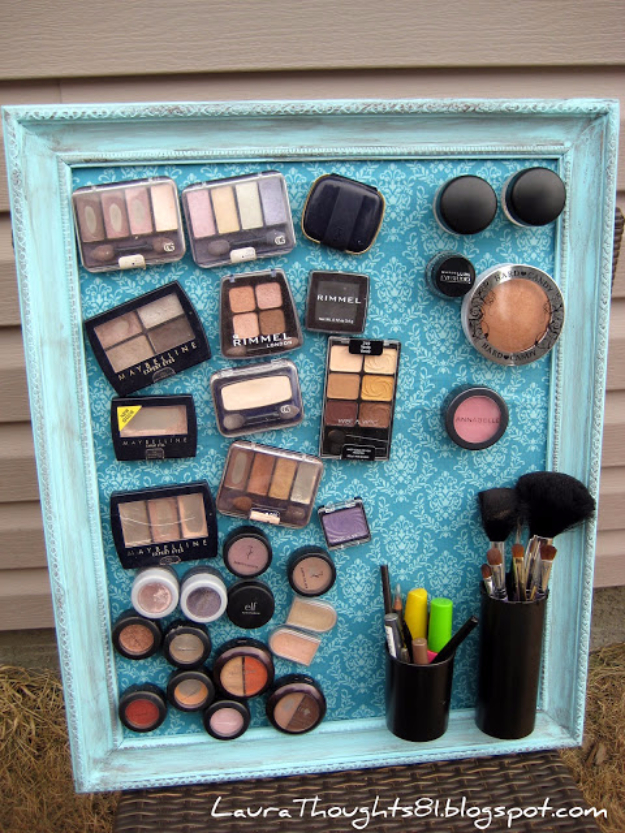 Cool Turquoise Room Decor Ideas   Make Up Magnet Board   Fun Aqua Decorating  Looks And