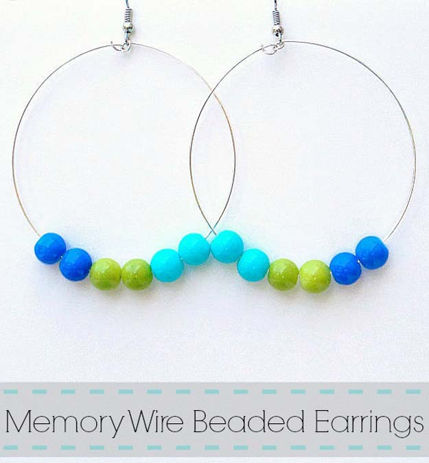DIY Earrings and Homemade Jewelry Projects - Memory Wire Beaded Earrings - Easy Studs, Ideas with Beads, Dangle Earring Tutorials, Wire, Feather, Simple Boho, Handmade Earring Cuff, Hoops and Cute Ideas for Teens and Adults #diygifts #diyteens #teengifts #teencrafts #diyearrings