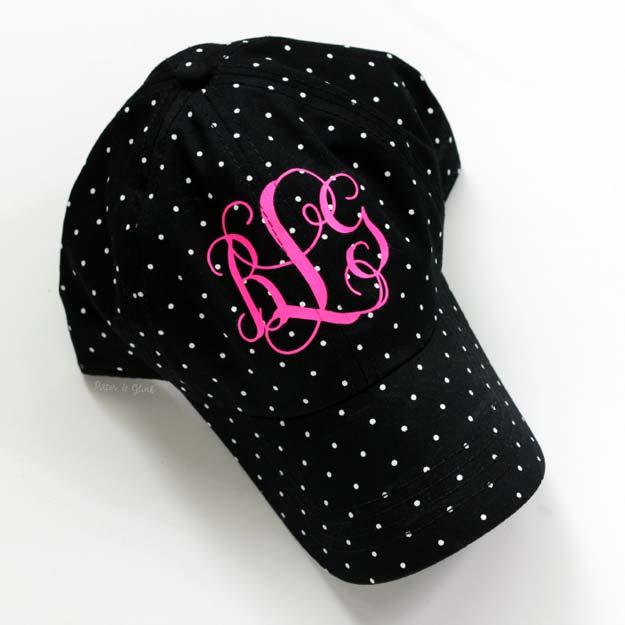 DIY Monogram Projects and Crafts Ideas - Monogrammed Baseball Hat - Letters, Wall Art, Mason Jar Ideas, Printables, Stickers, Embroidery Tutorials, Home and Room Decor, Pillows, Shirts and Fashion Tutorials - Fun and Cool Ideas for Teens, Tweens and Adults Make Great DIY Gifts http://diyprojectsforteens.com/diy-projects-with-monograms