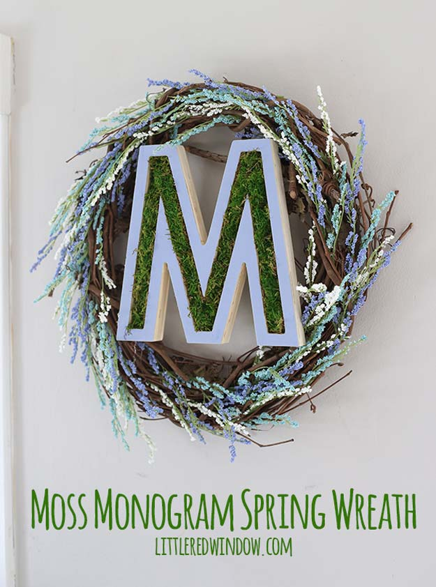 DIY Monogram Projects and Crafts Ideas -Monogram Spring Wreath- Letters, Wall Art, Mason Jar Ideas, Printables, Stickers, Embroidery Tutorials, Home and Room Decor, Pillows, Shirts and Fashion Tutorials - Fun and Cool Ideas for Teens, Tweens and Adults Make Great DIY Gifts