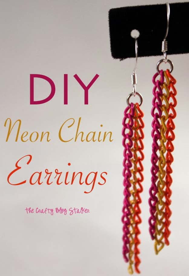 DIY Earrings and Homemade Jewelry Projects - Neon Chain Earrings - Easy Studs, Ideas with Beads, Dangle Earring Tutorials, Wire, Feather, Simple Boho, Handmade Earring Cuff, Hoops and Cute Ideas for Teens and Adults #diygifts #diyteens #teengifts #teencrafts #diyearrings