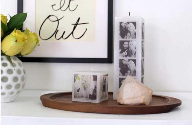 Cool DIY Photo Projects and Craft Ideas for Photos - Photo Wax Candle - Easy Ideas for Wall Art, Collage and DIY Gifts for Friends. Wood, Cardboard, Canvas, Instagram Art and Frames. Creative Birthday Ideas and Home Decor for Adults, Teens and Tweens