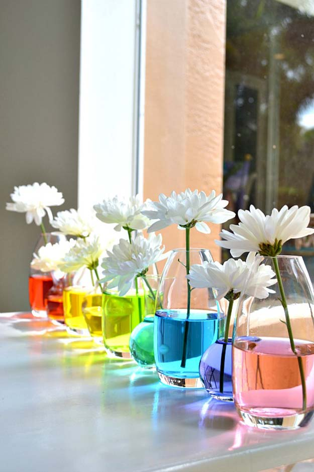 Best DIY Rainbow Crafts Ideas - Rainbow Centerpiece - Fun DIY Projects With Rainbows Make Cool Room and Wall Decor, Party and Gift Ideas, Clothes, Jewelry and Hair Accessories - Awesome Ideas and Step by Step Tutorials for Teens and Adults, Girls and Tweens http://diyprojectsforteens.com/diy-projects-with-rainbows