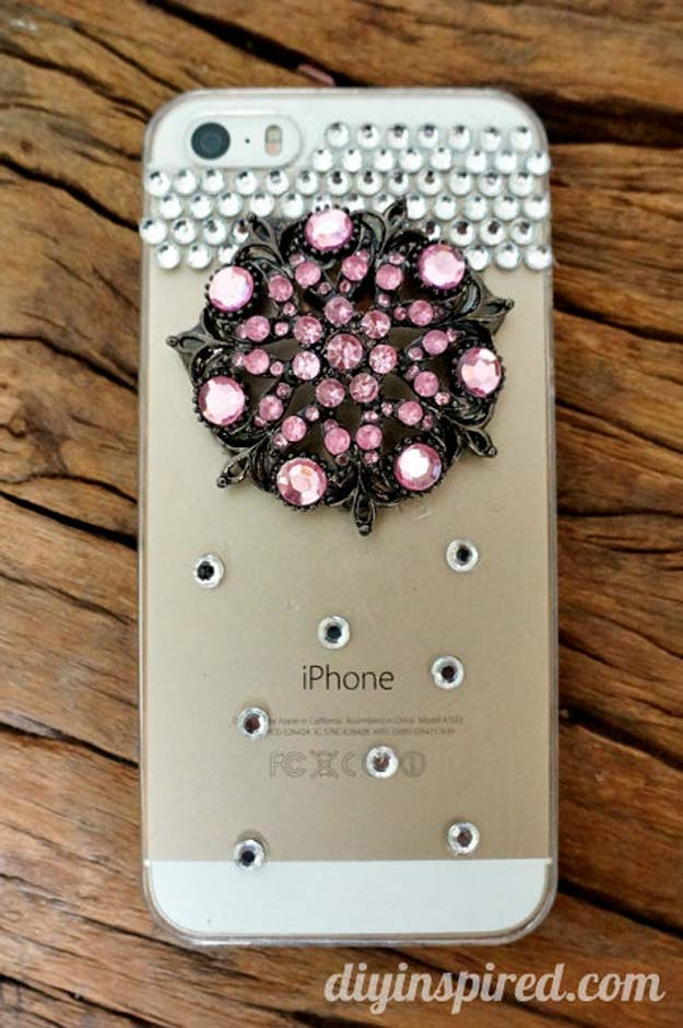 DIY iPhone Case Makeovers - Repurposed Brooch - Easy DIY Projects and Handmade Crafts Tutorial Ideas You Can Make To Decorate Your Phone With Glitter, Nail Polish, Sharpie, Paint, Bling, Printables and Sewing Patterns - Fun DIY Ideas for Women, Teens, Tweens and Kids