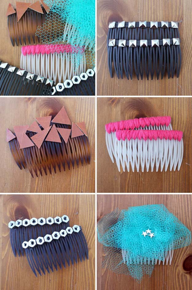 38 Creative DIY Hair Accessories - Side Combs - Create Pretty Hairstyles for Women, Teens and Girls with These Easy Tutorials - Vintage and Boho Looks for Prom and Wedding - Step by Step Instructions for Cool Headbands, Barettes, Pony Tail Holders, Hair Clips, Bobby Pins and Bows http://diyprojectsforteens.com/diy-hair-accessories