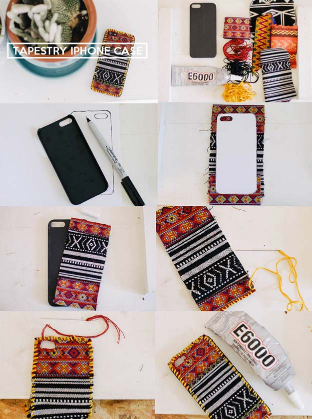 DIY iPhone Case Makeovers - Tapestry iPhone Case - Easy DIY Projects and Handmade Crafts Tutorial Ideas You Can Make To Decorate Your Phone With Glitter, Nail Polish, Sharpie, Paint, Bling, Printables and Sewing Patterns - Fun DIY Ideas for Women, Teens, Tweens and Kids