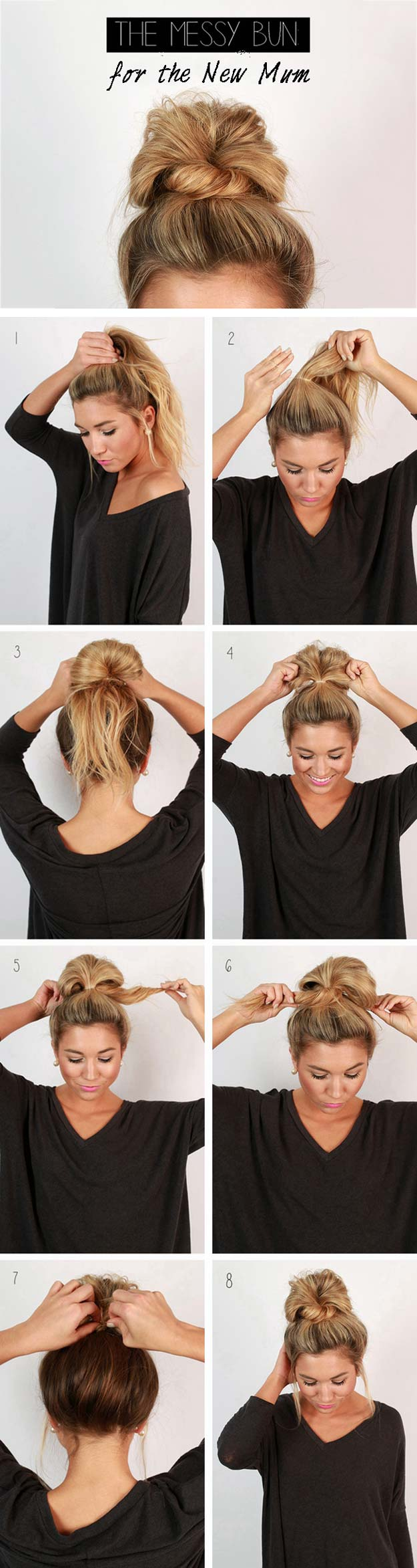 Cool and Easy DIY Hairstyles - Messy Bun - Quick and Easy Ideas for Back to School Styles for Medium, Short and Long Hair - Fun Tips and Best Step by Step Tutorials for Teens, Prom, Weddings, Special Occasions and Work. Up dos, Braids, Top Knots and Buns, Super Summer Looks #hairstyles #hair #teens #easyhairstyles #diy #beauty