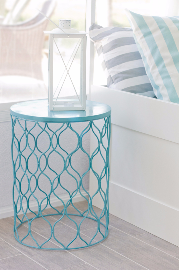 Cool Turquoise Room Decor Ideas - Turqouise Side Table - Fun Aqua Decorating Looks and Color for Teen Bedroom, Bathroom, Accent Walls and Home Decor - Fun Crafts and Wall Art for Your Room