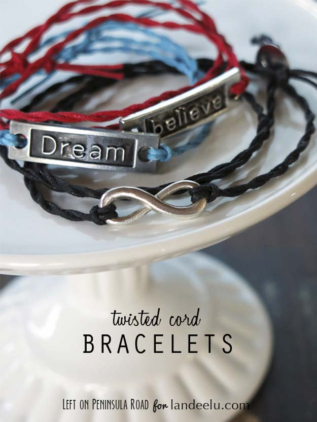 DIY Gifts for Teens - Twisted Cord Wrap Bracelets - Cool Ideas for Girls and Boys, Friends and Gift Ideas for Teenagers. Creative Room Decor, Fun Wall Art and Awesome Crafts You Can Make for Presents #teengifts #teencrafts