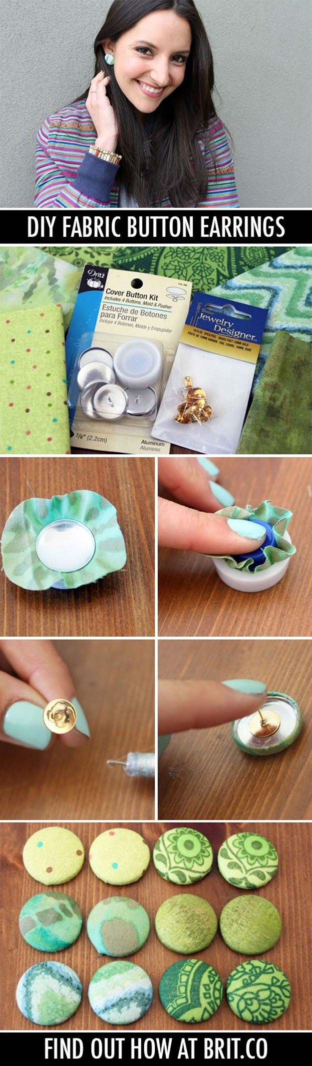 DIY Earrings and Homemade Jewelry Projects - Fabric Button Earrings - Easy Studs, Ideas with Beads, Dangle Earring Tutorials, Wire, Feather, Simple Boho, Handmade Earring Cuff, Hoops and Cute Ideas for Teens and Adults #diygifts #diyteens #teengifts #teencrafts #diyearrings