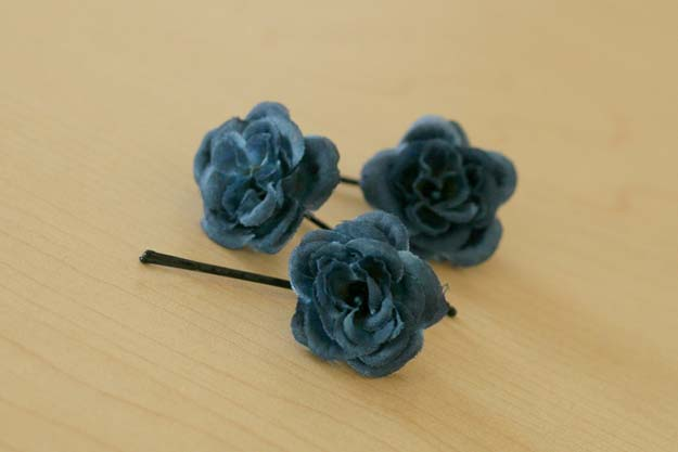 38 Creative DIY Hair Accessories - Flower Bobby Pins - Create Pretty Hairstyles for Women, Teens and Girls with These Easy Tutorials - Vintage and Boho Looks for Prom and Wedding - Step by Step Instructions for Cool Headbands, Barettes, Pony Tail Holders, Hair Clips, Bobby Pins and Bows http://diyprojectsforteens.com/diy-hair-accessories
