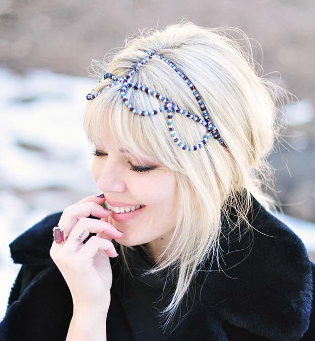 38 Creative DIY Hair Accessories - Beaded Headband - Create Pretty Hairstyles for Women, Teens and Girls with These Easy Tutorials - Vintage and Boho Looks for Prom and Wedding - Step by Step Instructions for Cool Headbands, Barettes, Pony Tail Holders, Hair Clips, Bobby Pins and Bows http://diyprojectsforteens.com/diy-hair-accessories