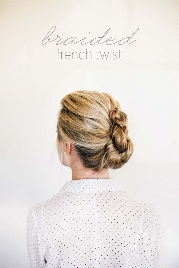 Cool and Easy DIY Hairstyles - Braided French Twist - Quick and Easy Ideas for Back to School Styles for Medium, Short and Long Hair - Fun Tips and Best Step by Step Tutorials for Teens, Prom, Weddings, Special Occasions and Work. Up dos, Braids, Top Knots and Buns, Super Summer Looks #hairstyles #hair #teens #easyhairstyles #diy #beauty