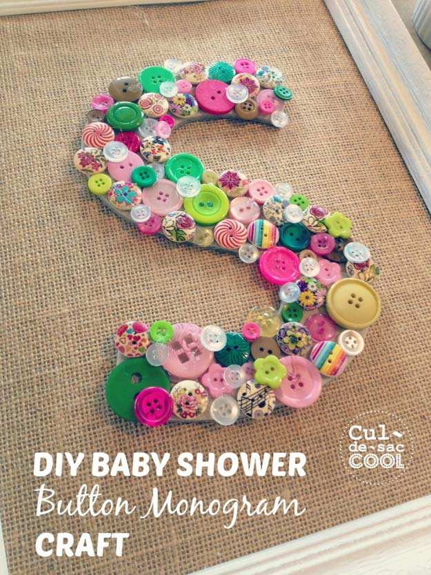 DIY Monogram Projects and Crafts Ideas - Baby Shower Button Monogram Craft - Letters, Wall Art, Mason Jar Ideas, Printables, Stickers, Embroidery Tutorials, Home and Room Decor, Pillows, Shirts and Fashion Tutorials - Fun and Cool Ideas for Teens, Tweens and Adults Make Great DIY Gifts