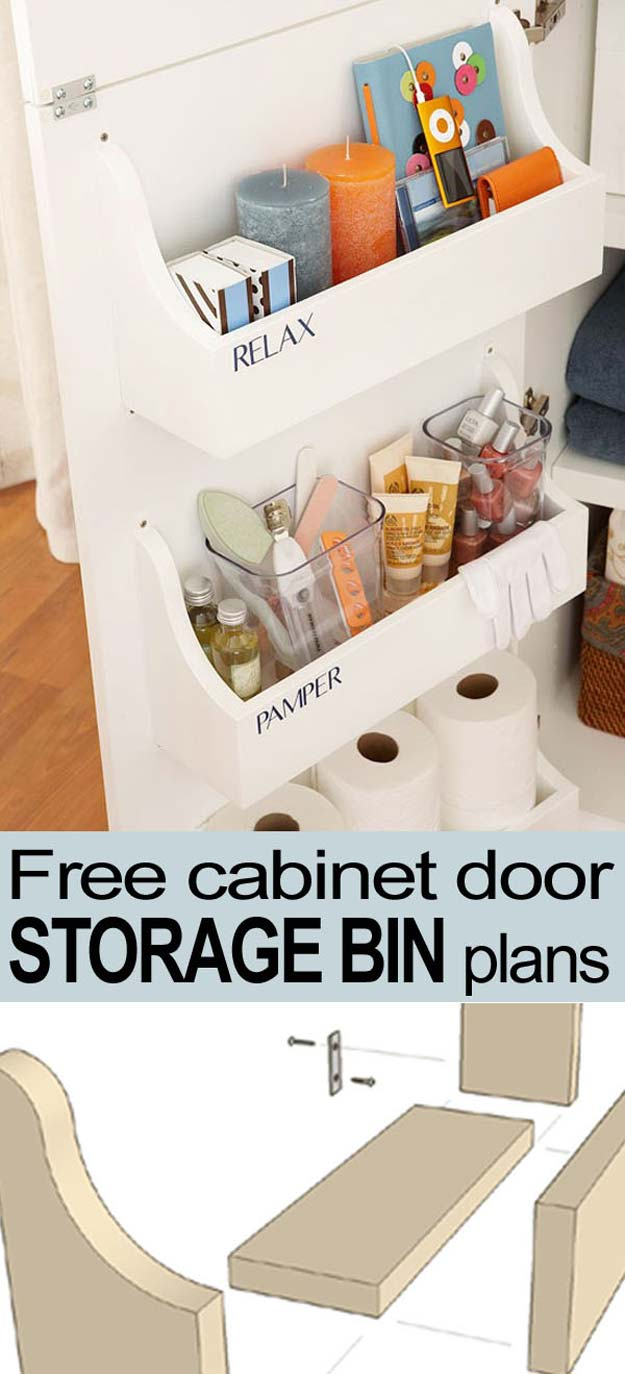 cabinet-door-storage-bin-pin-button - DIY Projects for Teens