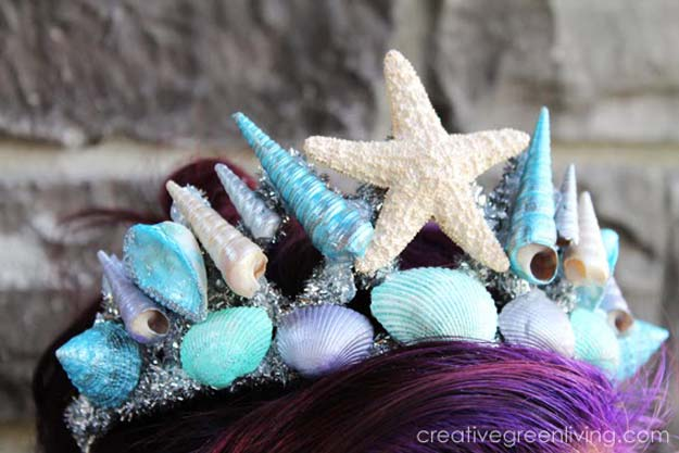 Best Last Minute DIY Halloween Costume Ideas - Stunning Mermaid Tiara - Do It Yourself Costumes for Teens, Teenagers, Tweens, Teenage Boys and Girls, Friends. Fun, Clever, Cheap and Creative Costumes that Are Easy To Make. Step by Step Tutorials and Instructions #halloween #costumeideas #halloweencostumes