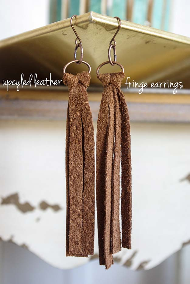 DIY Earrings and Homemade Jewelry Projects - Upcycled Leather Fringe Earrings - Easy Studs, Ideas with Beads, Dangle Earring Tutorials, Wire, Feather, Simple Boho, Handmade Earring Cuff, Hoops and Cute Ideas for Teens and Adults #diygifts #diyteens #teengifts #teencrafts #diyearrings