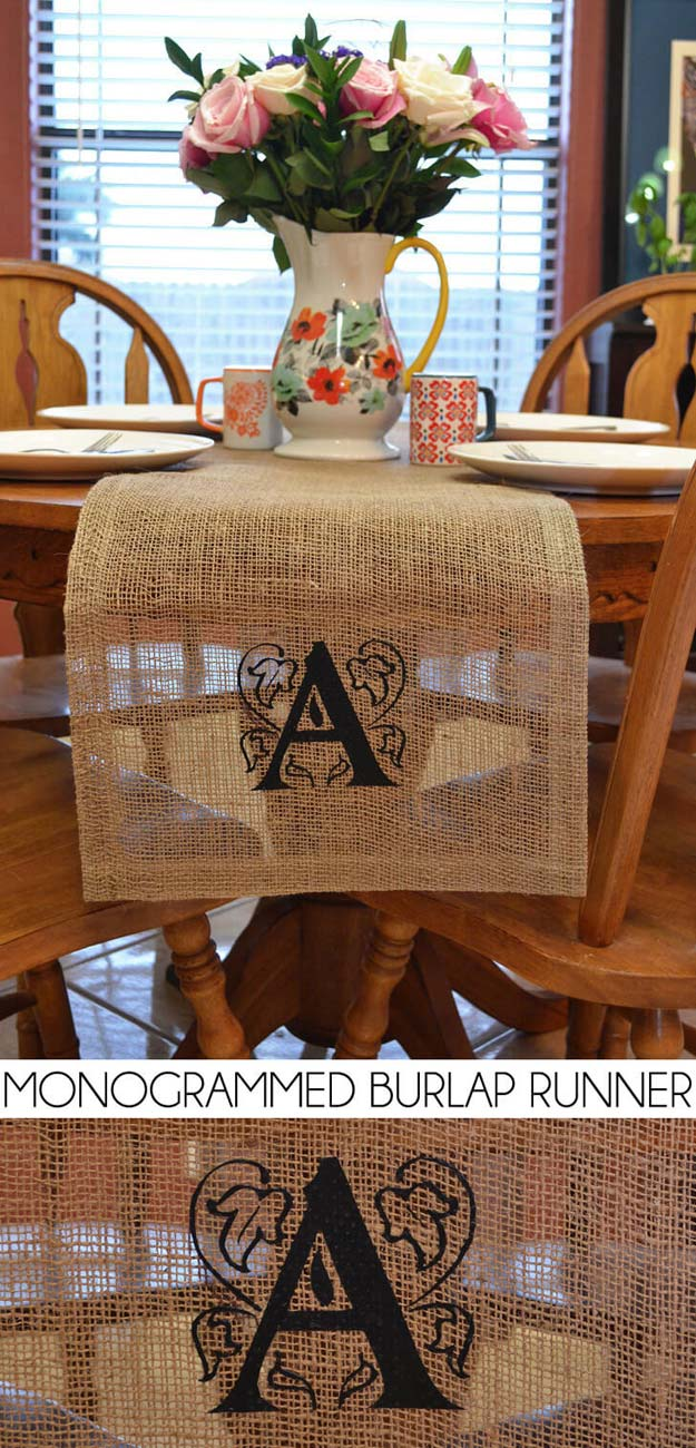 DIY Monogram Projects and Crafts Ideas -Burlap Monogram Table Runner- Letters, Wall Art, Mason Jar Ideas, Printables, Stickers, Embroidery Tutorials, Home and Room Decor, Pillows, Shirts and Fashion Tutorials - Fun and Cool Ideas for Teens, Tweens and Adults Make Great DIY Gifts http://diyprojectsforteens.com/diy-projects-with-monograms
