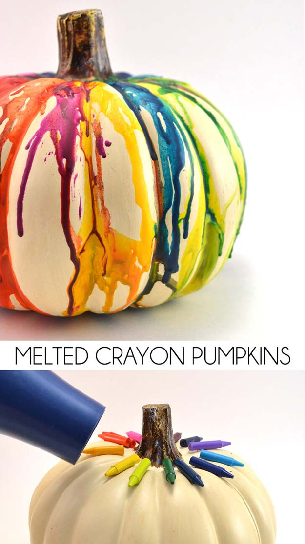 Best DIY Rainbow Crafts Ideas - Melted Crayon Pumpkin Craft - Fun DIY Projects With Rainbows Make Cool Room and Wall Decor, Party and Gift Ideas, Clothes, Jewelry and Hair Accessories - Awesome Ideas and Step by Step Tutorials for Teens and Adults, Girls and Tweens http://diyprojectsforteens.com/diy-projects-wi