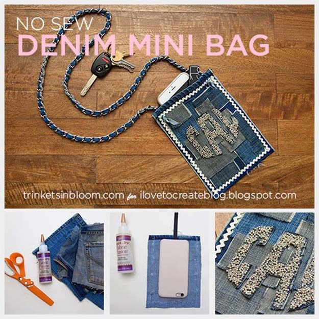 DIY Gifts for Teens - No Sew Denim Mini Bag - Cool Ideas for Girls and Boys, Friends and Gift Ideas for Teenagers. Creative Room Decor, Fun Wall Art and Awesome Crafts You Can Make for Presents http://diyprojectsforteens.com/diy-gifts-for-teens