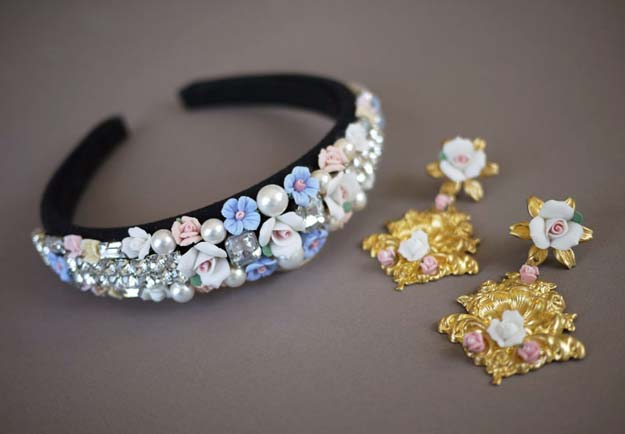 38 Creative DIY Hair Accessories - Dolce & Gabbana Tiara - Create Pretty Hairstyles for Women, Teens and Girls with These Easy Tutorials - Vintage and Boho Looks for Prom and Wedding - Step by Step Instructions for Cool Headbands, Barettes, Pony Tail Holders, Hair Clips, Bobby Pins and Bows http://diyprojectsforteens.com/diy-hair-accessories