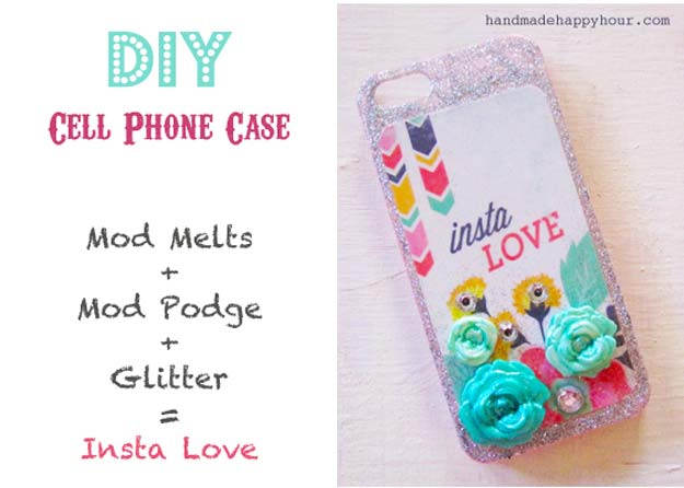 DIY iPhone Case Makeovers - Glittery iPhone Case - Easy DIY Projects and Handmade Crafts Tutorial Ideas You Can Make To Decorate Your Phone With Glitter, Nail Polish, Sharpie, Paint, Bling, Printables and Sewing Patterns - Fun DIY Ideas for Women, Teens, Tweens and Kids