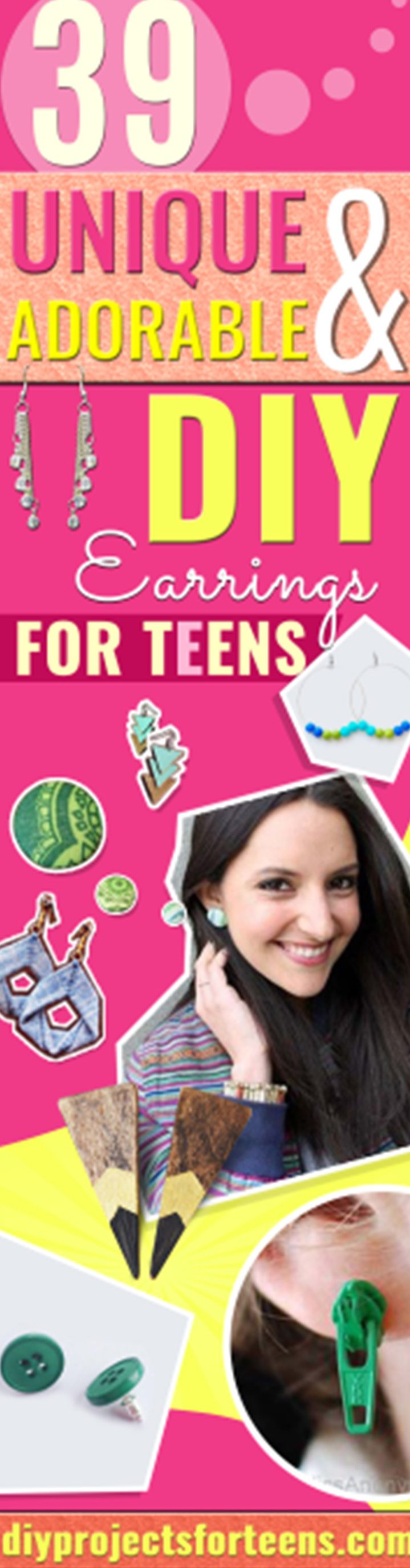 DIY Earrings and Homemade Jewelry Projects - Easy Studs, Ideas with Beads, Dangle Earring Tutorials, Wire, Feather, Simple Boho, Handmade Earring Cuff, Hoops and Cute Ideas for Teens and Adults